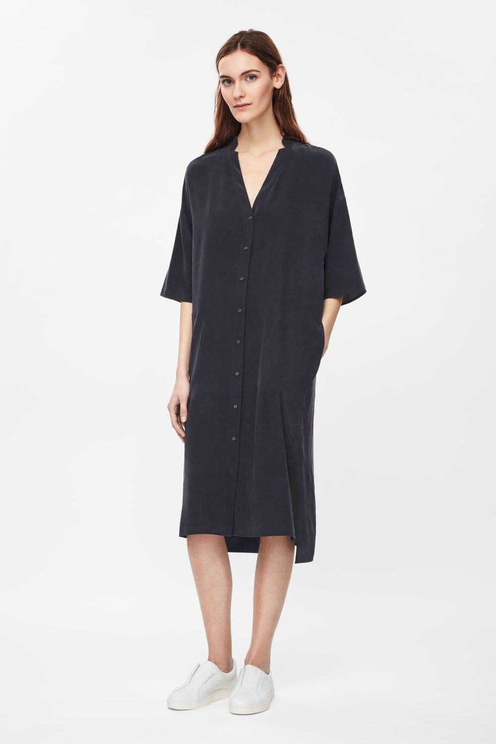 This long vneck shirt dress is made from pure silk with a soft