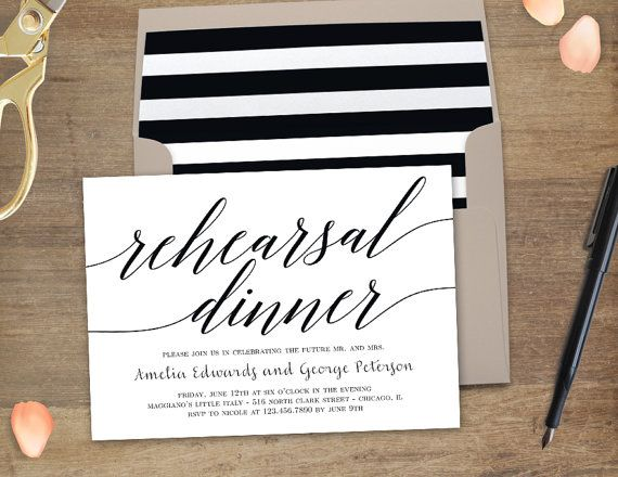 Printable Rehearsal Dinner Invitation MODERN by berryberrysweet - dinner invite templates