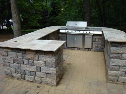 stone bar with grill - Patio Grill Ideas