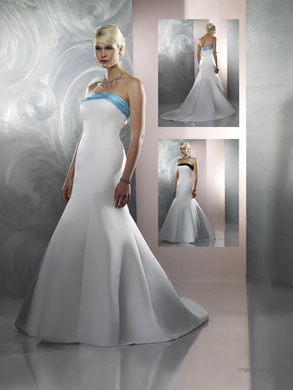 Turquoise wedding dresses  Aline Strapless Chapel Satin Wedding Dresses   Wedding