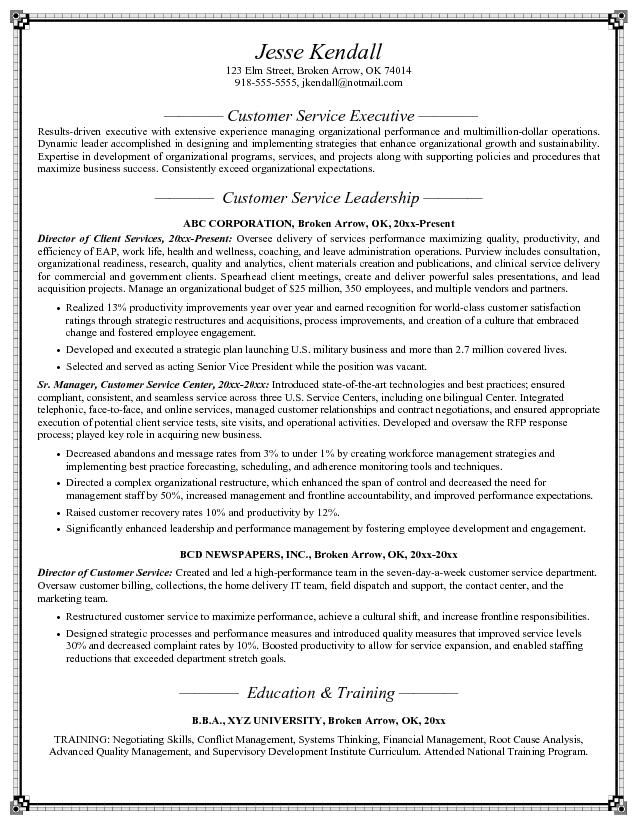 Customer Service Resume Objective -    topresumeinfo customer - Director Of Information Technology Resume
