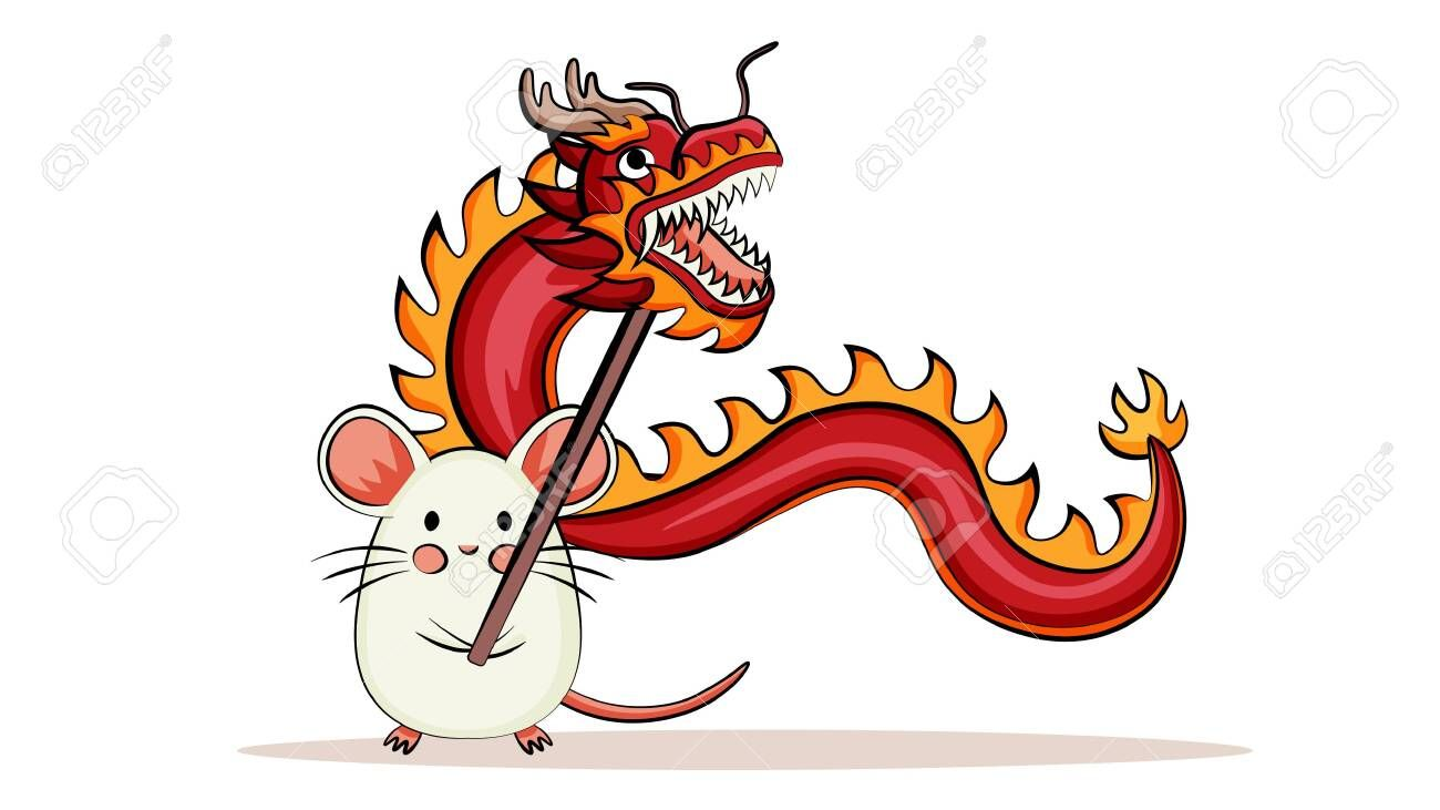 Happy chinese new year 2020. Cute mouse holding dragon