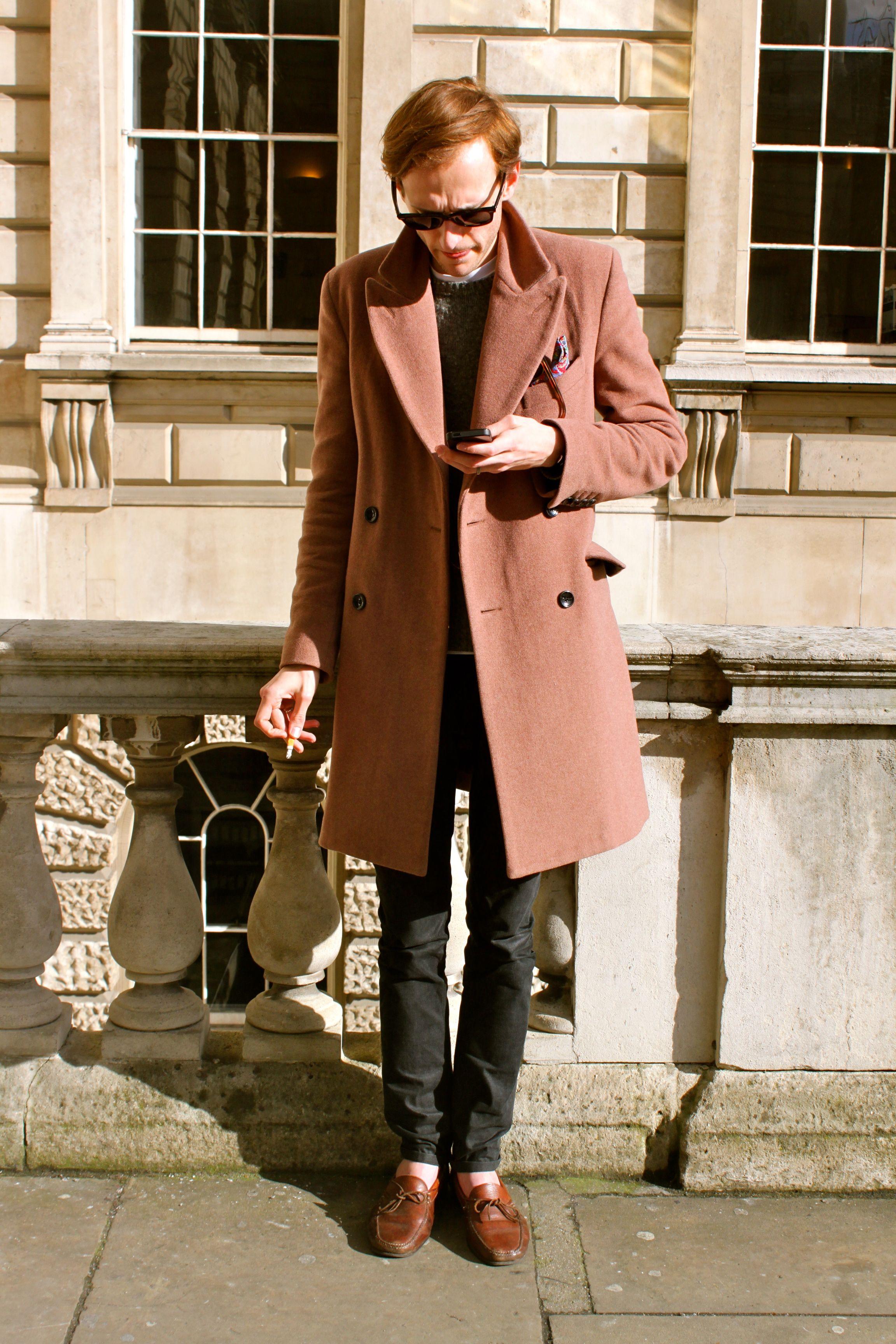 Men's fashion/long coat/long peacoat/fashion colour/besides red/denim/street style /winter style/winter Sunday