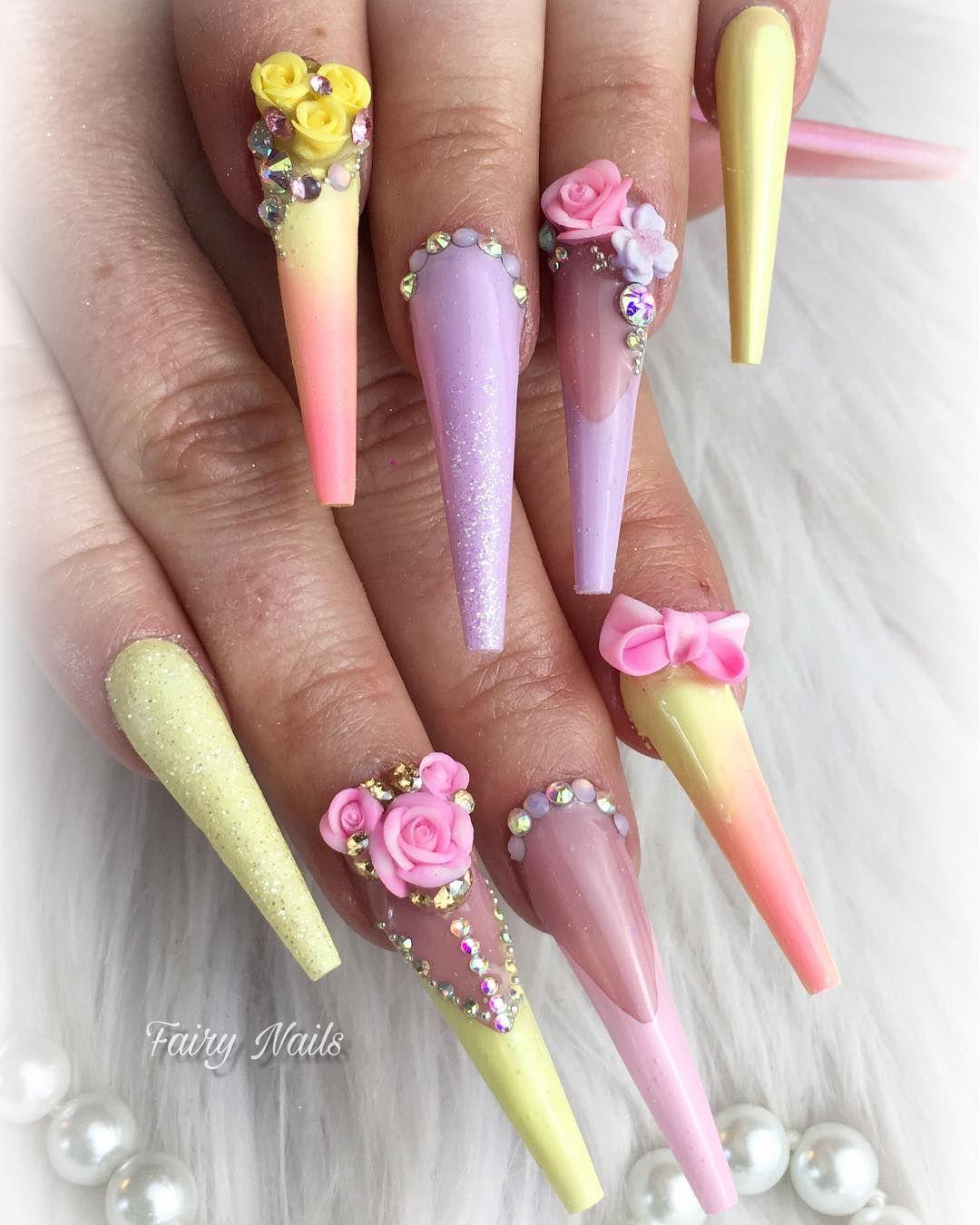 Zuruck Aus Dem Winterschlaf Rein In Den Fruhling Nails Nailstagram Nailsonfleek Colourful Longnails Nailart Spring L Nails Nail Art Nail Art Designs