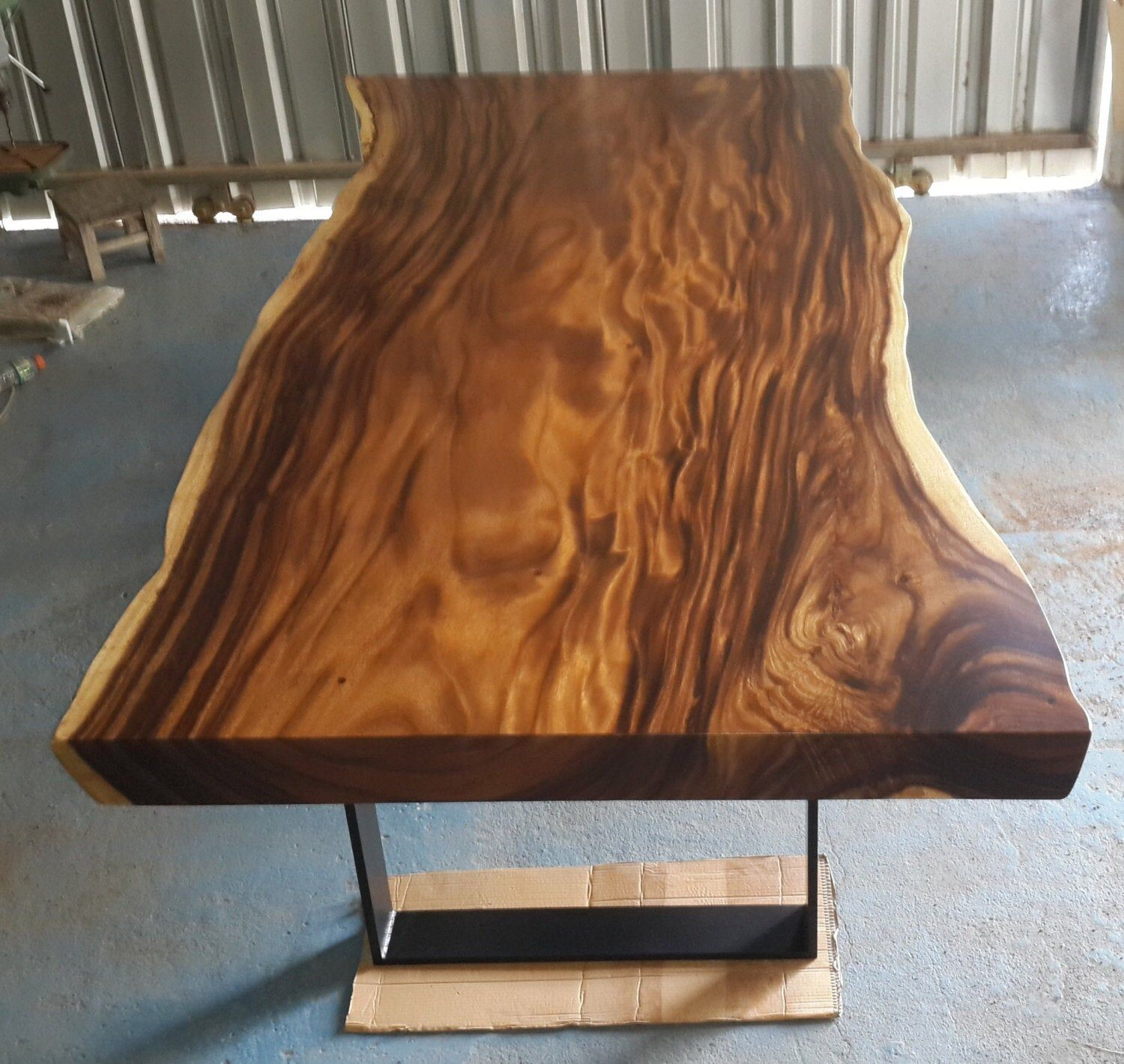 Live Edge Dining Table Reclaimed Acacia Wood Solid Slab Live Edge