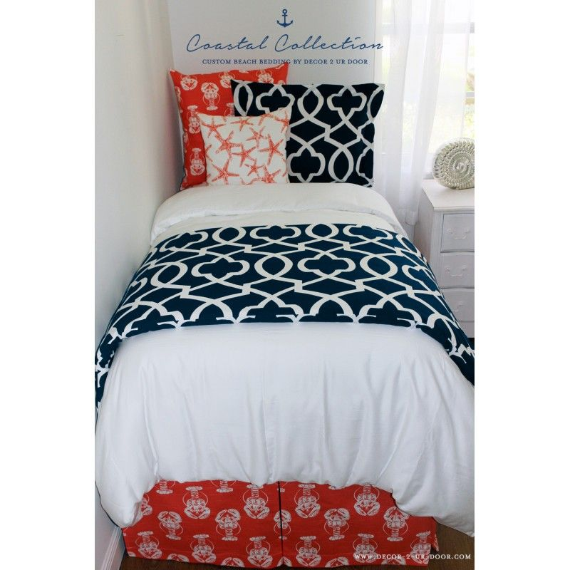 Navy Coral Starfish Lobster Bedding Set Beachy Bedroom Perfect