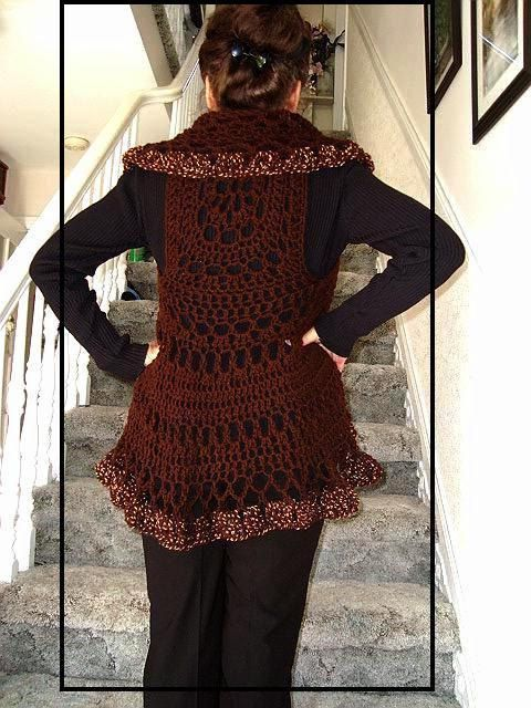 Crochet PATTERN 718 Long Bohemian Vest shawl collar por Hectanooga