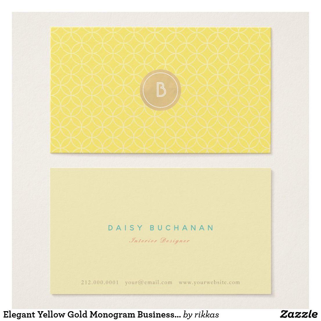 elegant yellow gold monogram business card  zazzle