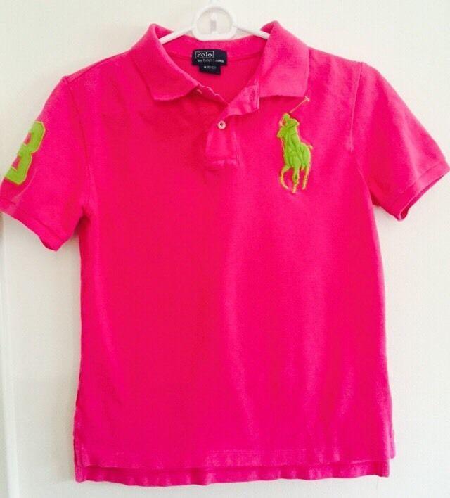 Polo By Ralph Lauren Big Pony Girls Size M 10 12 Hot Pink Short Sleeve Polo Hot Pink Shorts Polo Ralph Lauren Size Girls