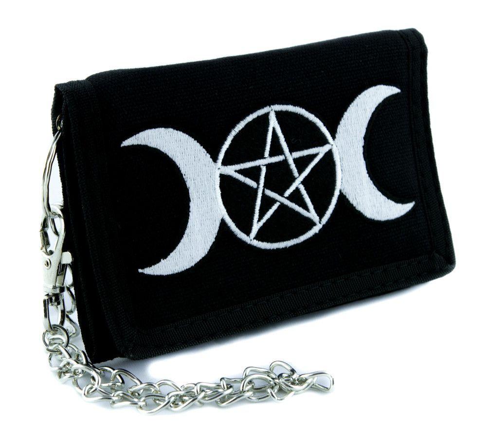 Triple goddess wicca pentagram tri fold wallet w chain pagan triple goddess wicca pentagram tri fold wallet w chain pagan clothing witchcraft three moon biocorpaavc