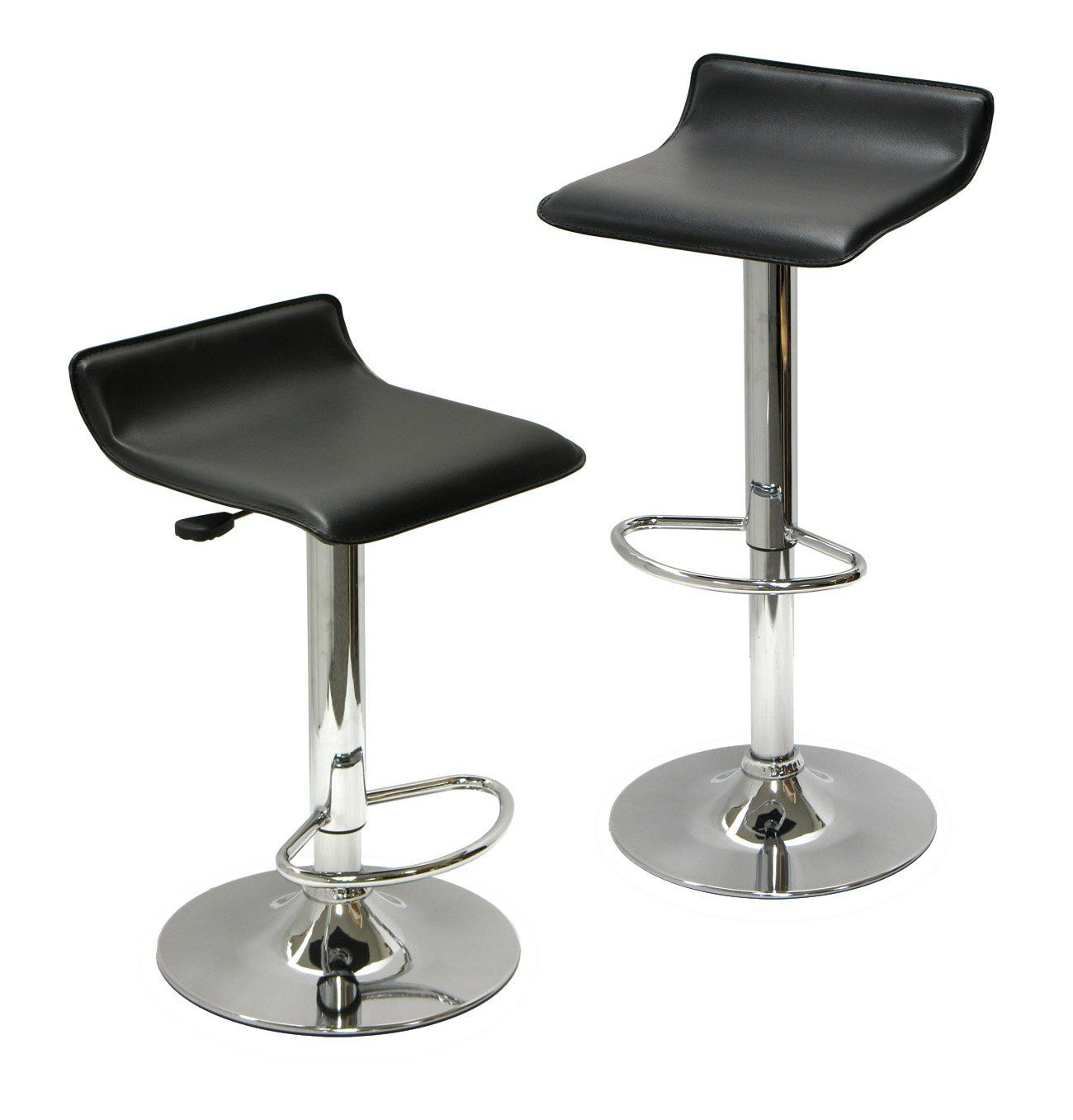 Winsome Adjule Airlift Bar Stool Set Of 2 93329 Stools Kitchen And Dining Furniture
