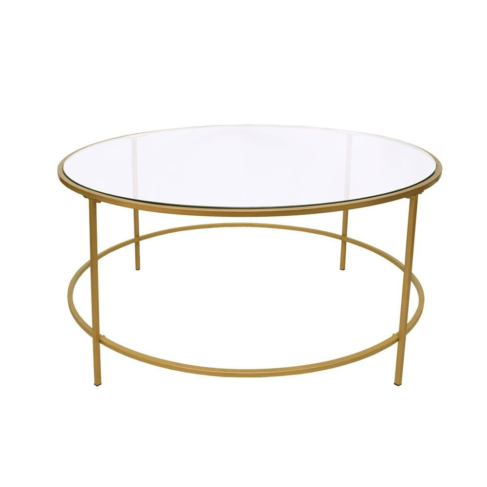 Round Metal Framed Coffee Table With Glass Top Gold And Clear The Urban Port In 2020 Coffee Table Metal Frame Coffee Table Glass Top Coffee Table [ 1000 x 1000 Pixel ]
