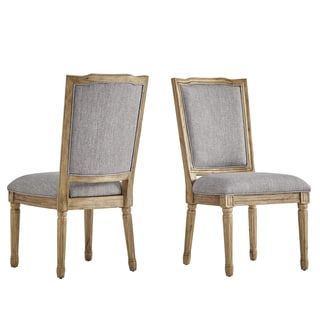 Deana Ornate Linen And Pine Wood Dining Chairs Set Of 2 By Inspire Q Artisan 8 X 10 Tan Grey Gray Dining Chairs Dining Chair Upholstery Ornate Chairs