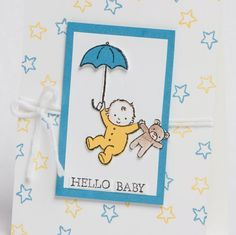 "Today's ""Hello Baby"" card features the Stampin Up Moon Baby Stamp Set and the fabulous watercolor pencils!"