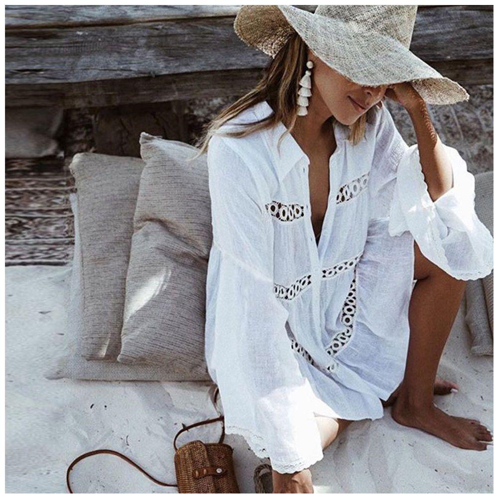 c862b1a9703  12.75 - Bikini Cover Up Lace Hollow Crochet Swimsuit Beach Dress Women  White One Size  ebay  Fashion