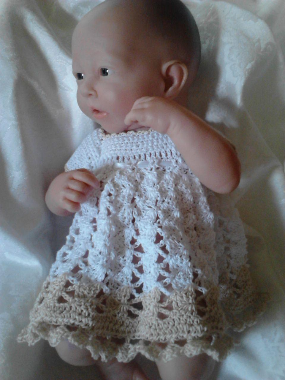 Free Doll Crochet Thread Dress Gown Pattern For Berenguer La Newborn