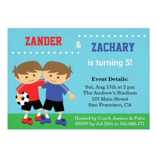 Cute Soccer Twins, Soccer Kids Birthday Party Card Kids birthday - best of invitation party card
