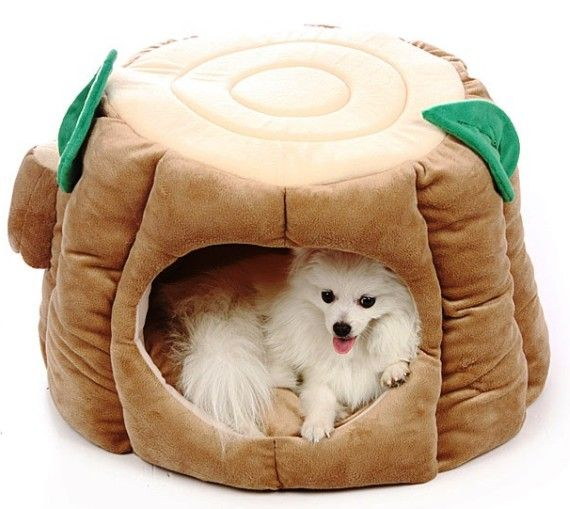 Plush Tree Stump Pet Bed Puppy Dog Tales Dog Bed Pet