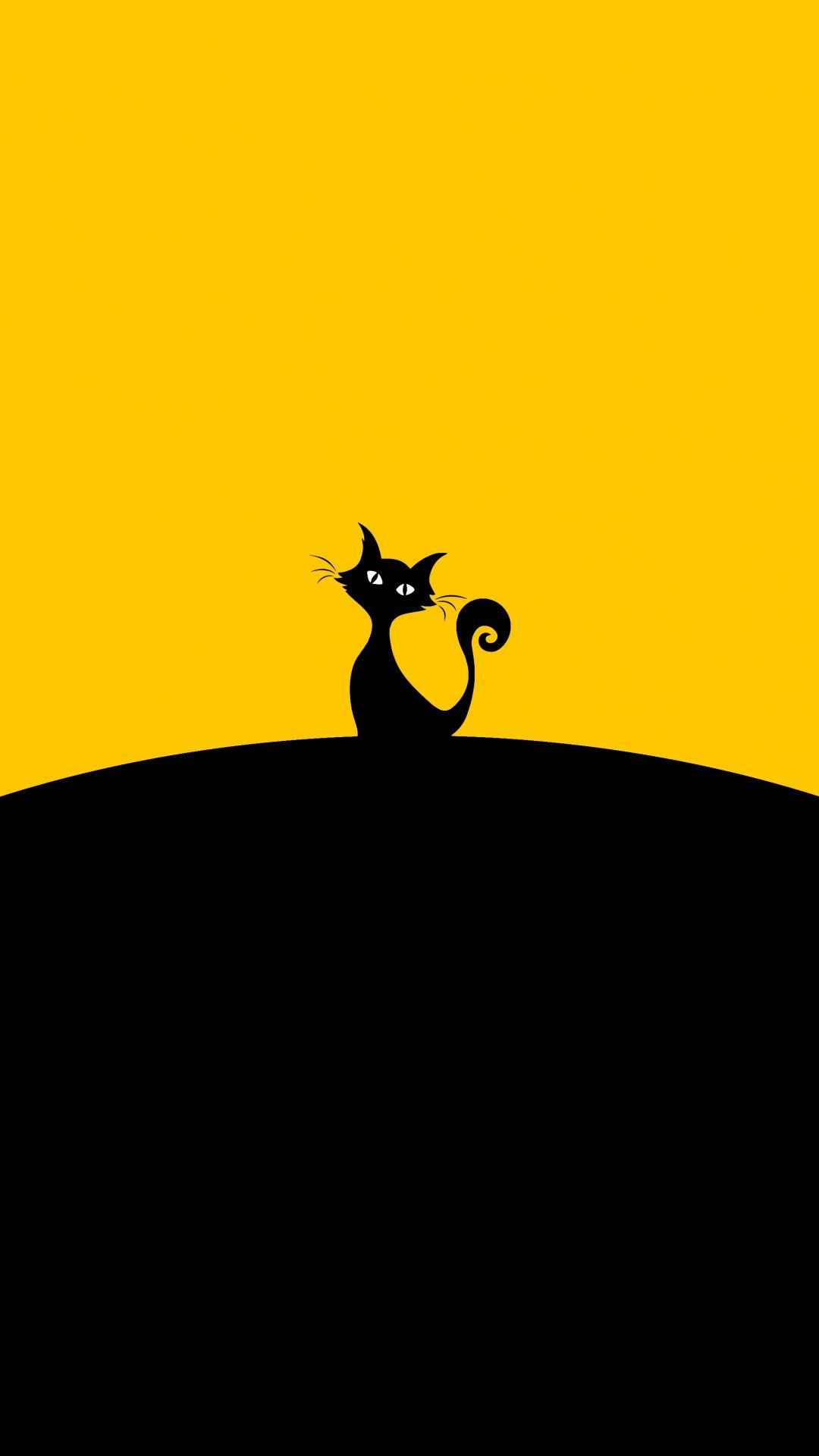 Minimal Cat Silhouette 1080x1920 Wallpaper Cat Wallpaper Yellow Cat Art Images