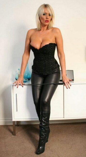 big tits leather pants