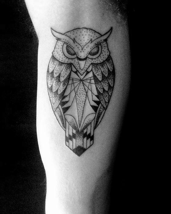 80 Geometric Owl Tattoo Designs For Men Shape Ink Ideas Geometric Owl Tattoo Mens Owl Tattoo Geometric Owl