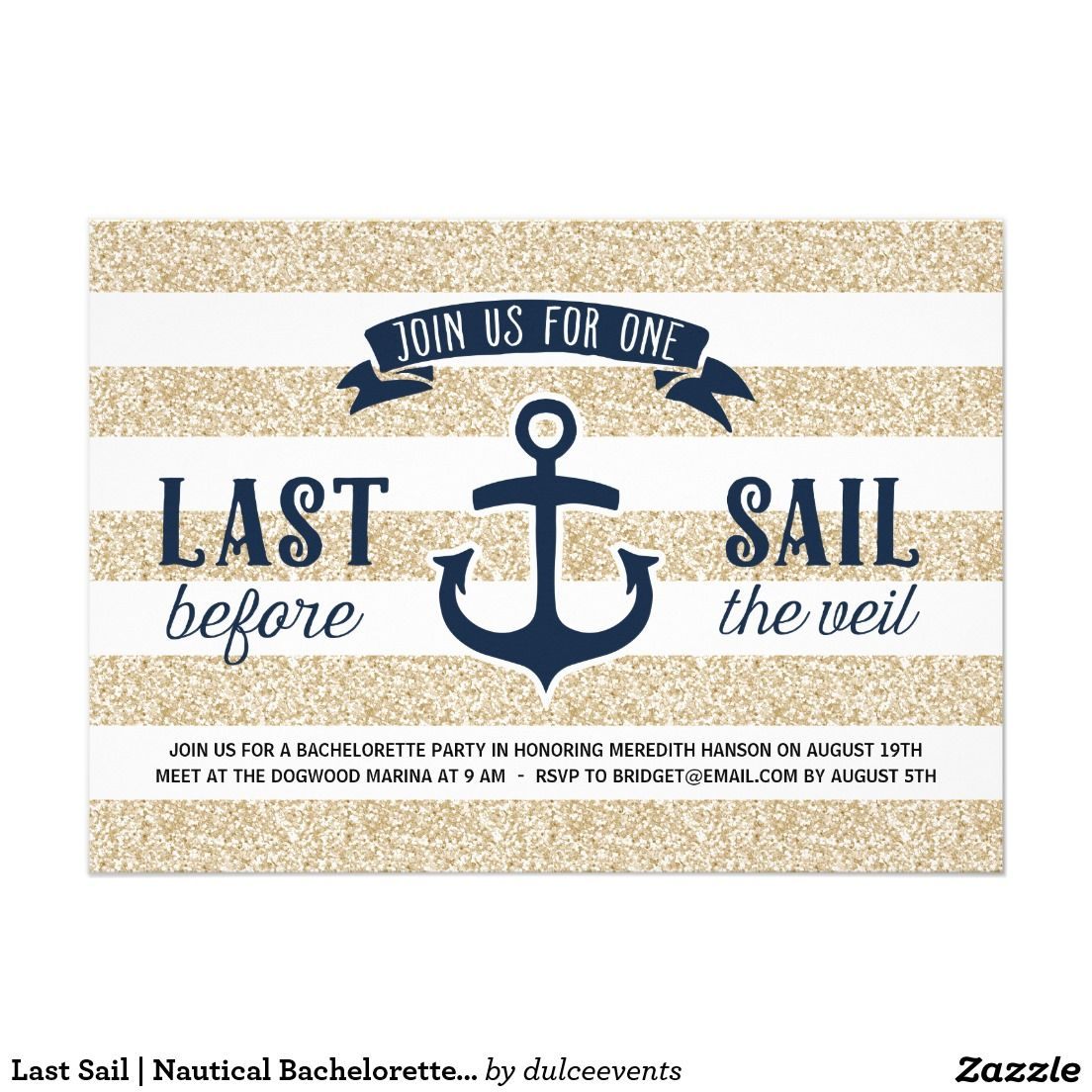 Last Sail   Nautical Bachelorette Party Card   Nautical ...