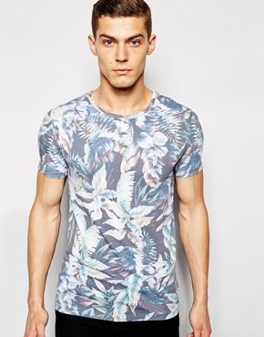 ASOS Muscle T-Shirt With All Over Floral Print And Stretch