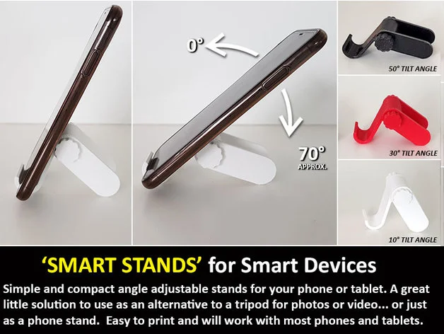 Smart Stand - A smart little stand for Smart Devices (Phones and Tablets) by muzz64 - Thingiverse #smartdevice