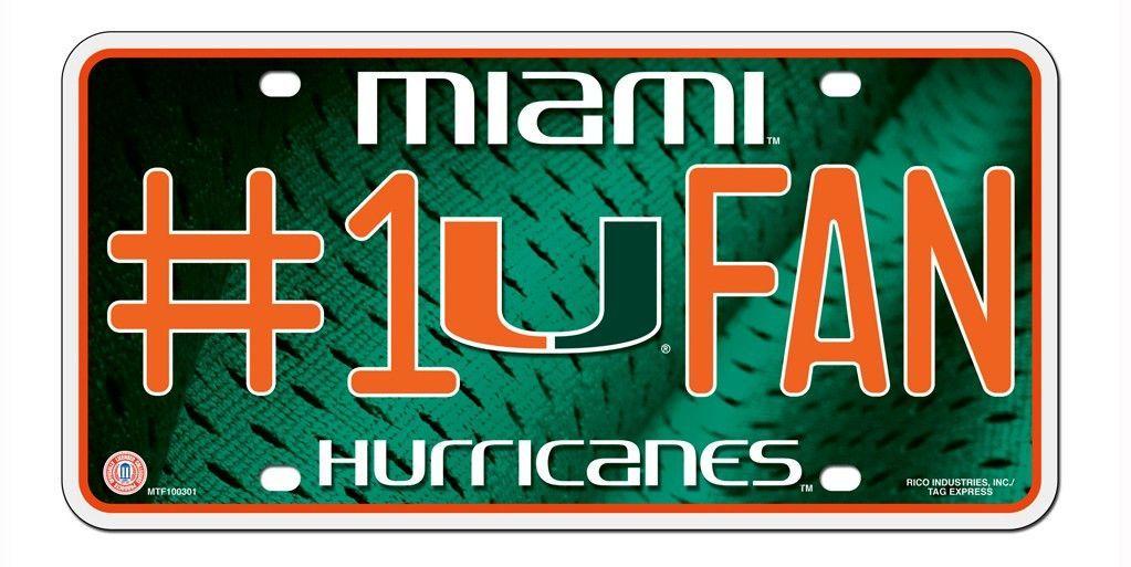 Miami Hurricanes License Plate 1 Fan Special Order