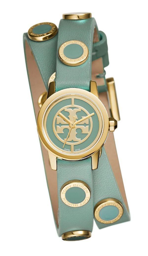 34d0e157e Tory Burch Reva Mini Studded Double-wrap Watch | Green ...