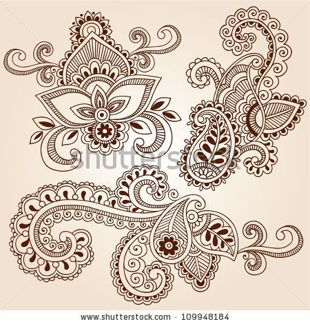 Paisley Colorful Tattoo Designs | Henna Doodle Mehndi Tattoo Colorful Vector Design Elements — Grafika