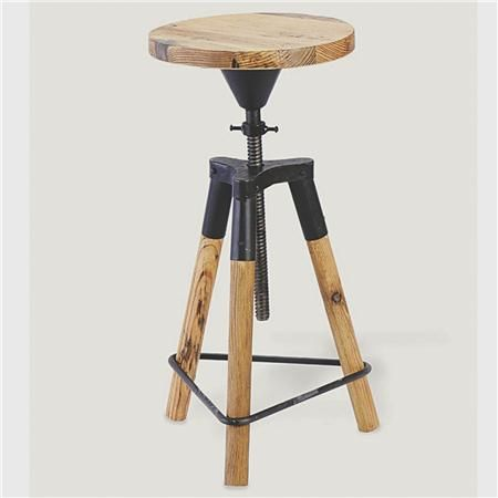 Industrial Wood And Metal Corkscrew Adjustable Height Stool   Shades Of  Light ($100 200)   Svpply