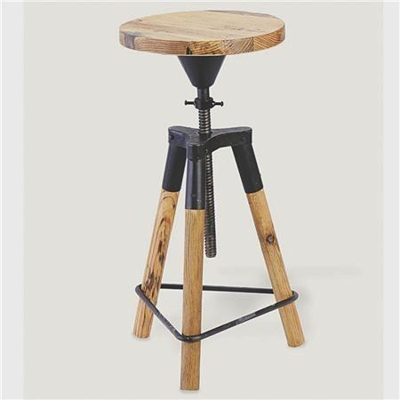 Industrial Wood And Metal Corkscrew Adjustable Height Stool