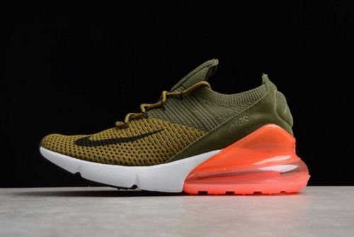 Authentic Mens and WMNS Nike Air Max 270 Flyknit Army Green Dark Green Black  Red For