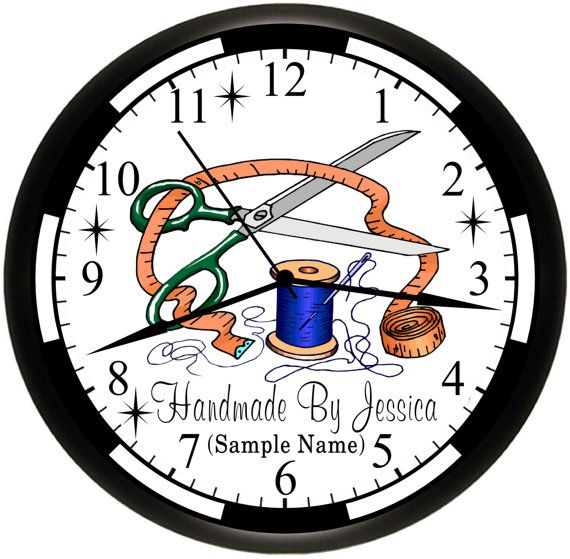 Sewing Crafts Craft Room Personalized 9 Inch Wall Decor Art Clock Custom Made Gift Ideaby Simplysoutherngift 17 95 Chasy