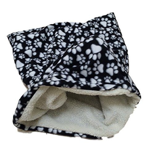 Weenie Warmers Black Paw Sherpa Lined Dog Cat Bed Sleeping