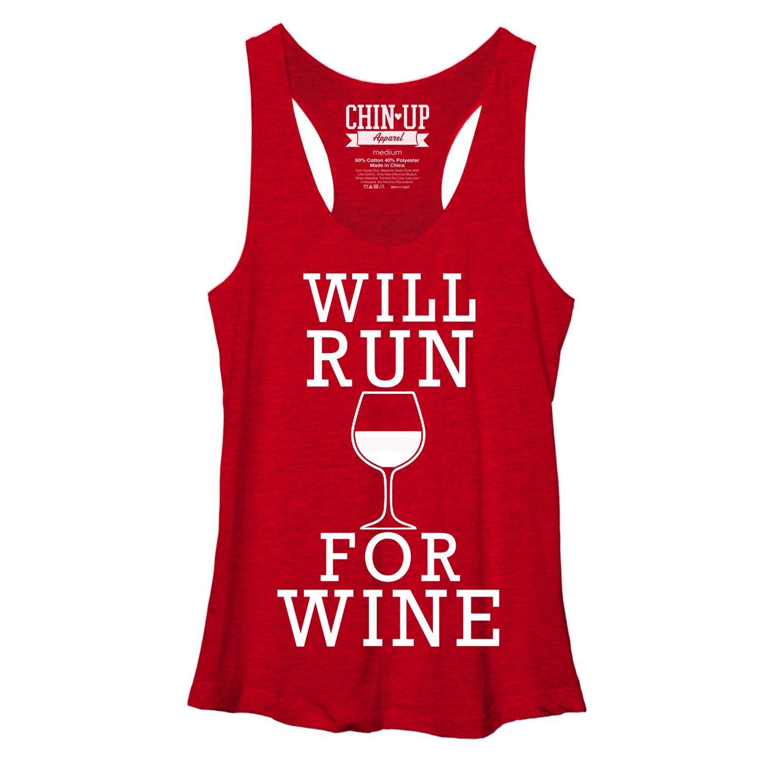 Chin Up Women S Will Run For Wine Racerback Tank Chin Up Apparel Funny Yoga Shirt Womens Tank
