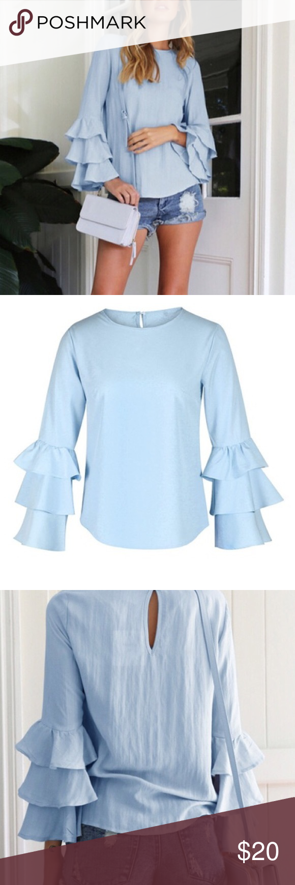 Blue Bell Sleeve Top Super cute and lightweight. Fits more of a M. Can also fit a small for a more looser fit. Tops Blouses