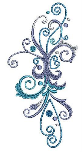 Adorable Ideas Embroidery Design: Scrollworks Swirls Decor 6.97 inches H x 3.36 inches W