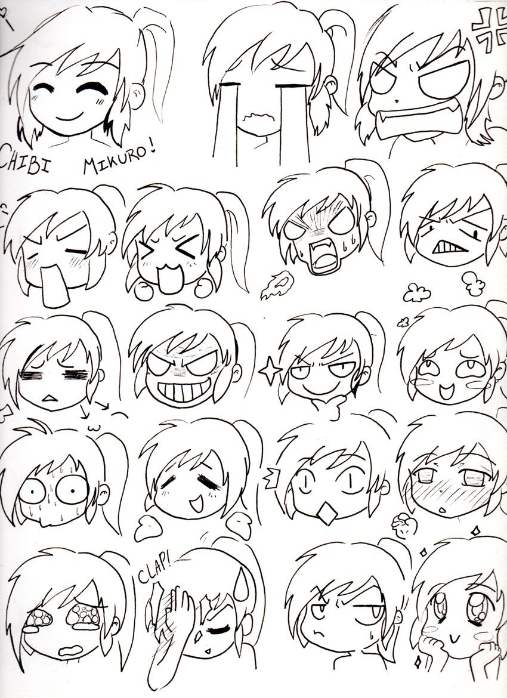 Chibi Mikuro Expressions by Mimi D … Desenho expressões