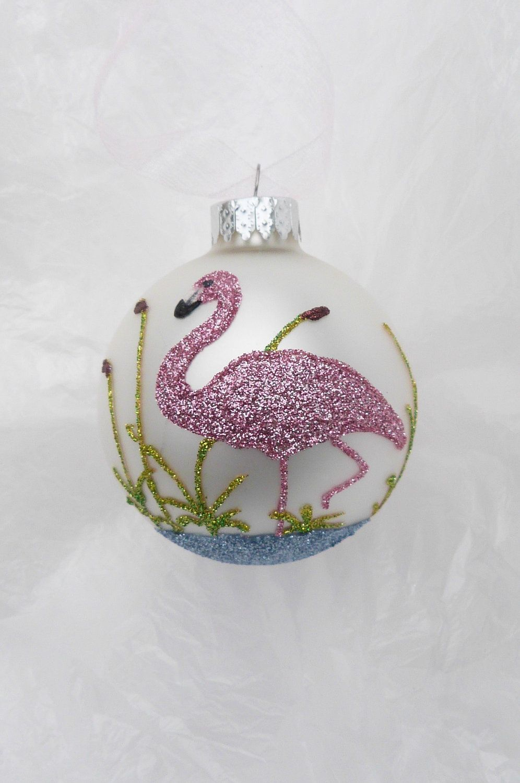 Florida christmas ornament - Pink Flamingo Glitter Ornament Florida Christmas Flamingo On White Glass Ball