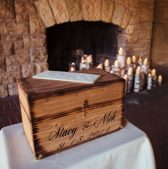 Country Wedding Gift Ideas: Wedding Card Wine Box Rustic Keepsake Love Letter Ceremony