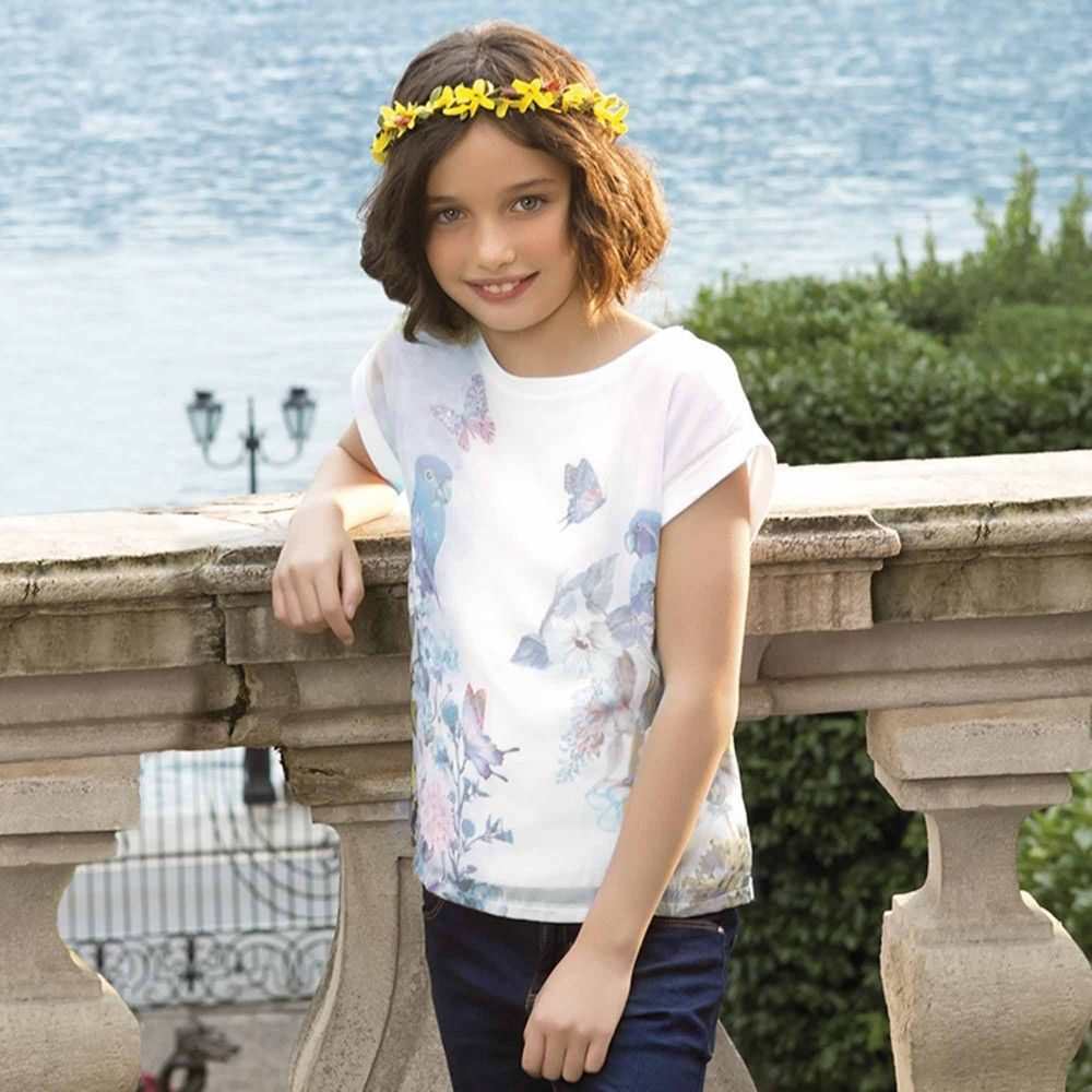 White T-Shirt with Blue Floral & Bird Print, Mayoral, Girl