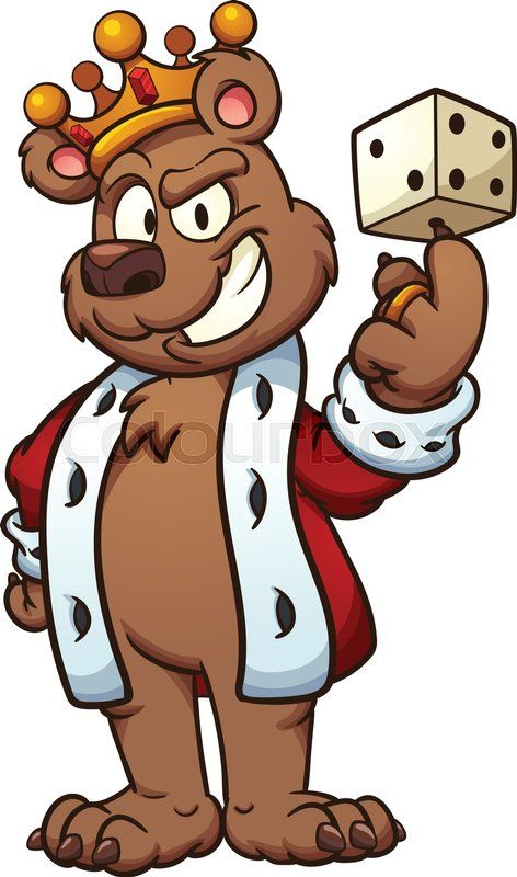 Stock vector of 'King bear balancing a dice on its finger ... (472 x 800 Pixel)