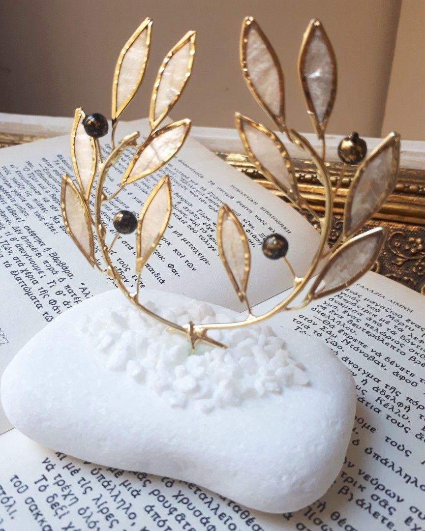131134750e5d Πρωτότυπες μπομπονιέρες γάμου μεταλλικό στεφάνι ελιας-αρχαιοελληνικο από  φιλντισι με βάση από πετρα!μοναδική