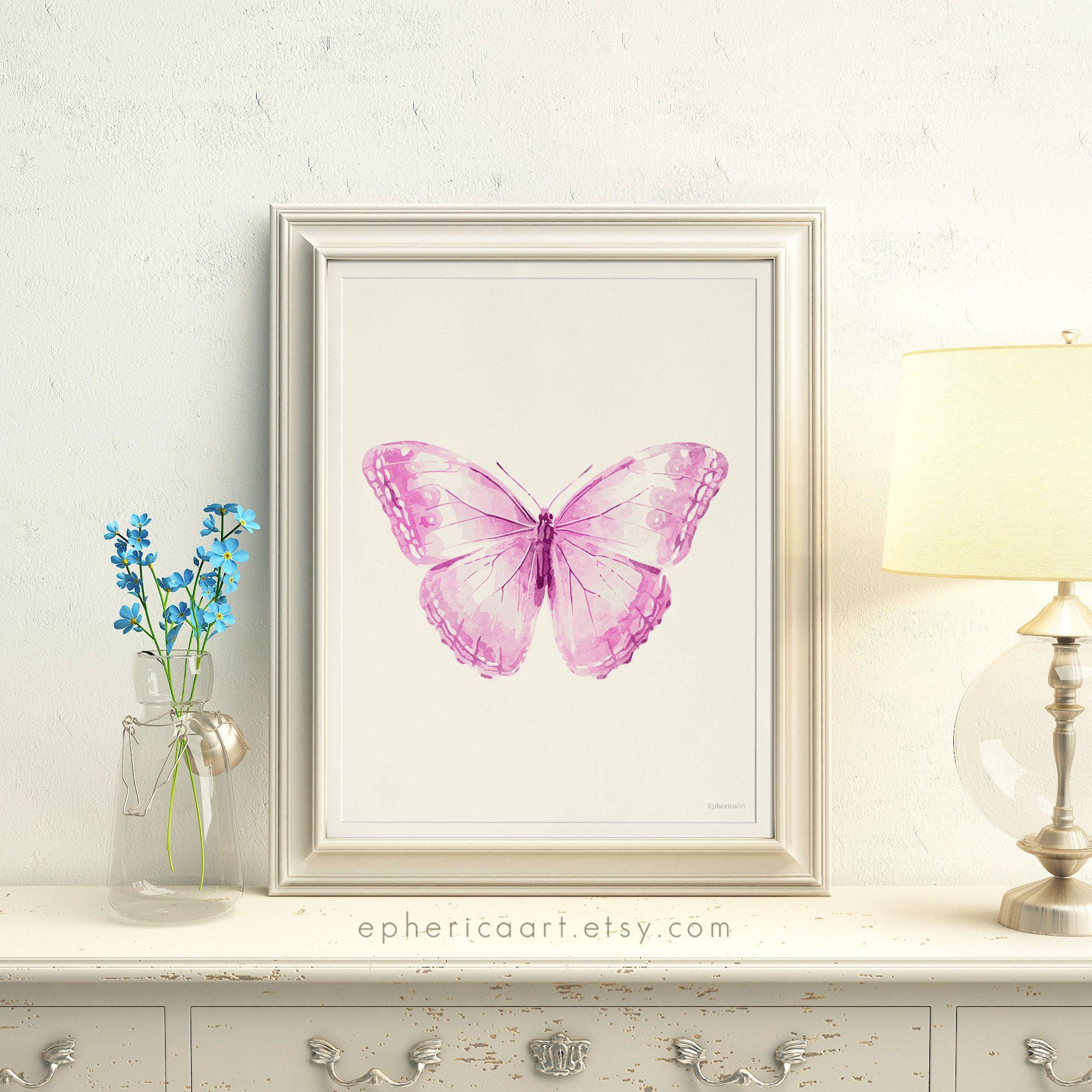 Digital butterfly print light purple pink butterfly artwork baby