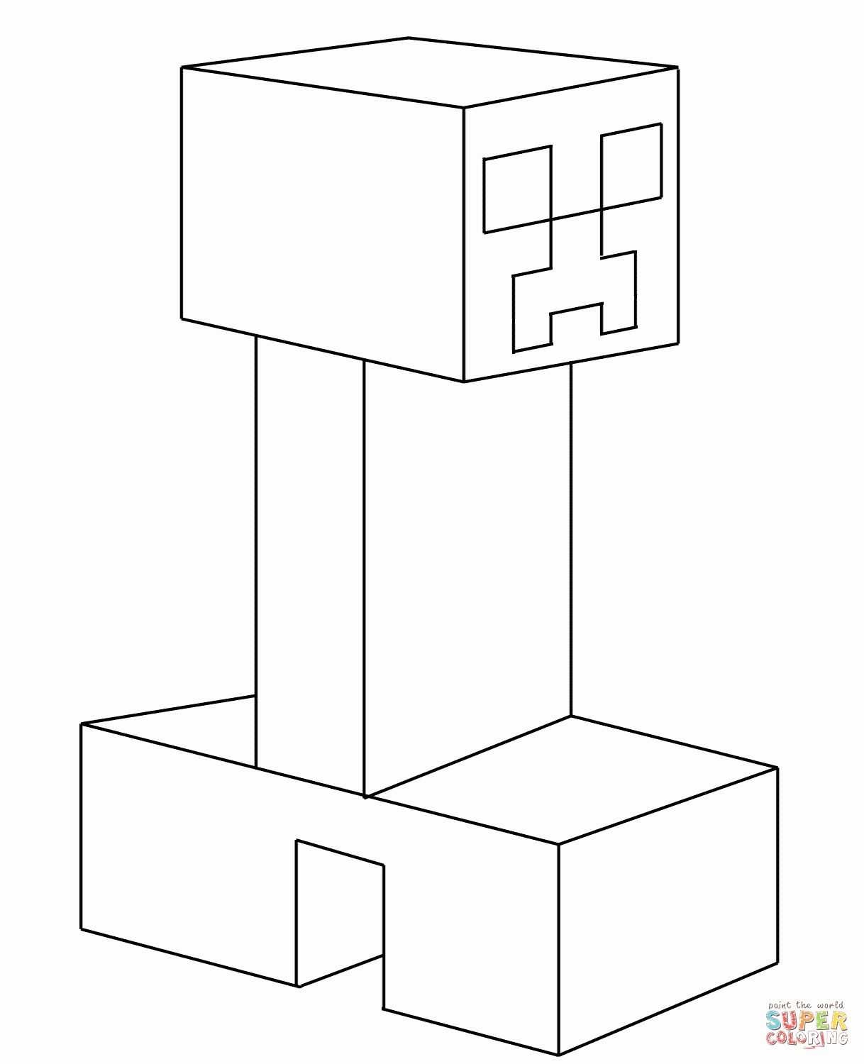 Minecraft Creeper Coloring Page Beautiful Creeper From ...