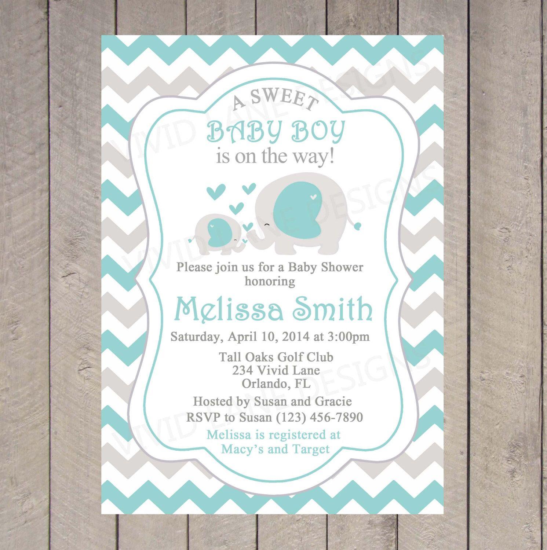 Teal Elephants Baby Shower Invitation By Vividlanedesigns On Etsy