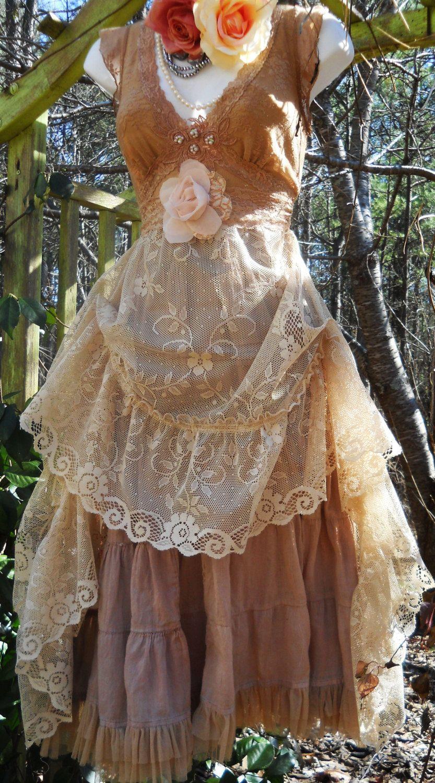 Beige lace dress wedding bridesmaid rustic shabby boho