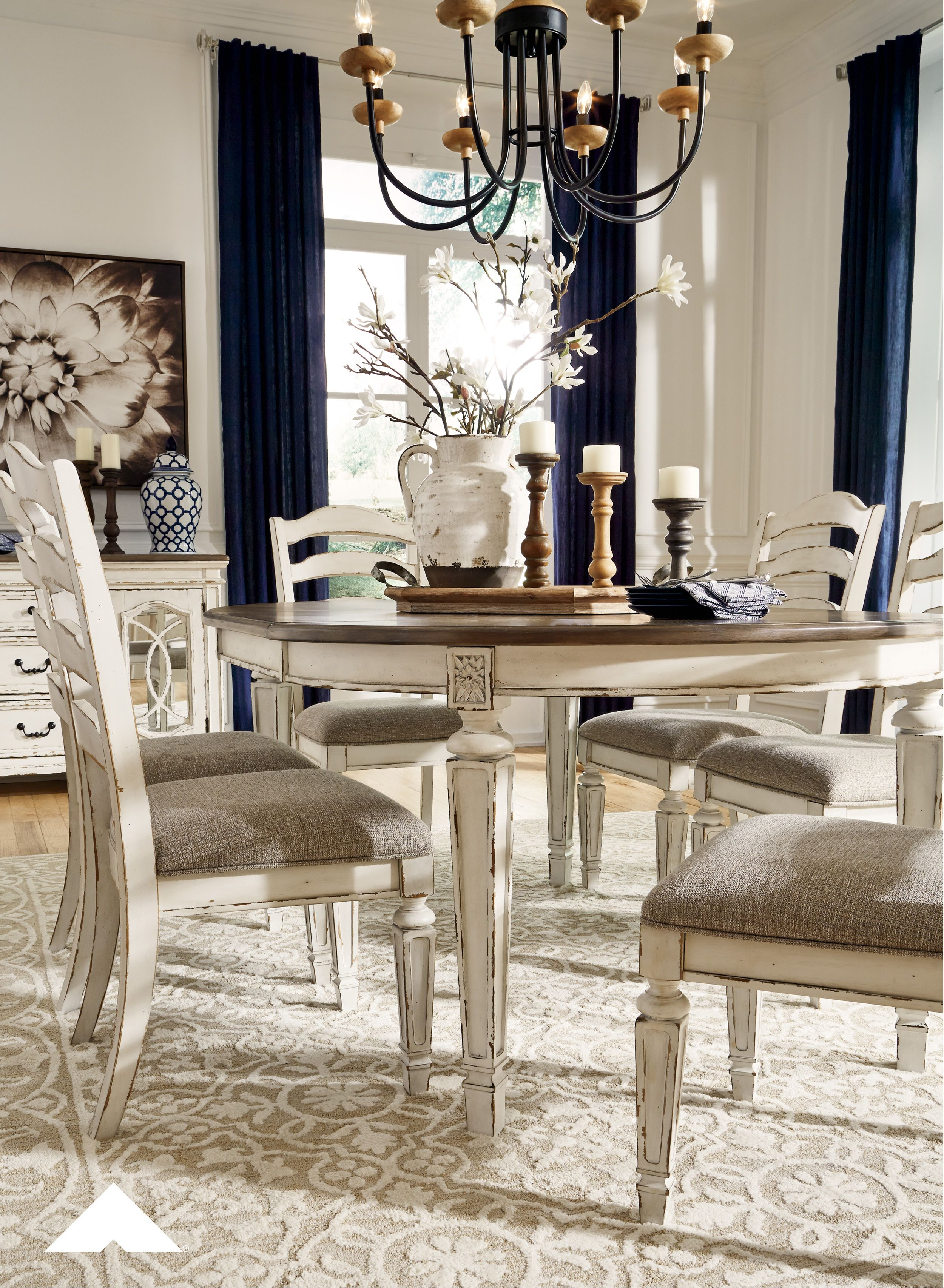 Raelyn Chipped White Dining Table Chairs Bon Appetite This Dining Set Has A Dining Room Table Centerpieces French Country Dining Room Country Dining Rooms